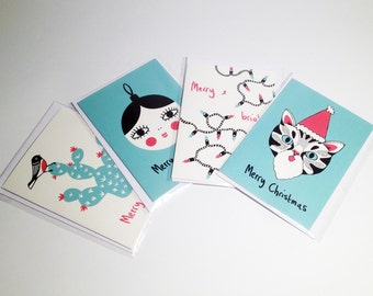 Set of 4 Illustrated Christmas Cards / Quirky Card Designs