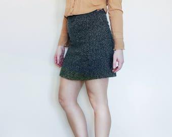 Wool Retro Green Pencil Skirt, Medium/6