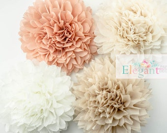 Neutral theme poms, paper flower, flower balls, wedding decoration, decoration, paper flower poms, baby shower, engagement party decorations