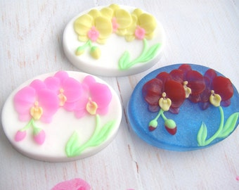 2d orchid branch mold 2d exotic mold 2d orchid mold oval mold of an orchid nature orchid mold floral mold botanical mold