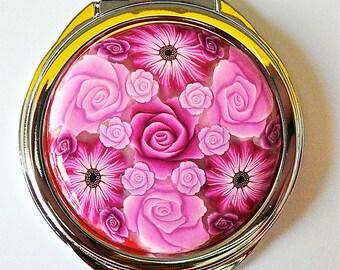Pink flower bag mirror in polymer clay