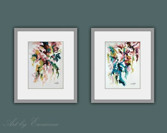 Fine Art Prints, Flower Prints, Set of 2 Prints, Abstract flower Painting, Contemporary art, Modern Abstract Art