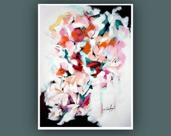 "SALE- Original Painting, Abstract Flower Painting, Contemporary Art, Abstract Painting, Modern Painting on Paper 18""x24"""