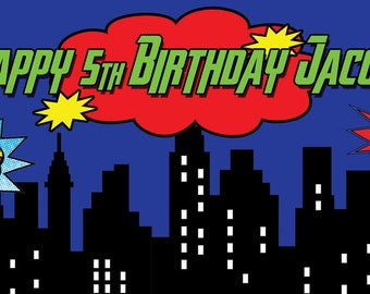 "18""x36"" Personalized Superhero Cityscapes Birthday Party Banner"