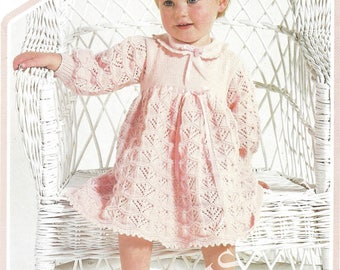 PDF Instant  Digital Download baby girls dress knitting pattern 18 to 22 inch chest 4 ply  (250)