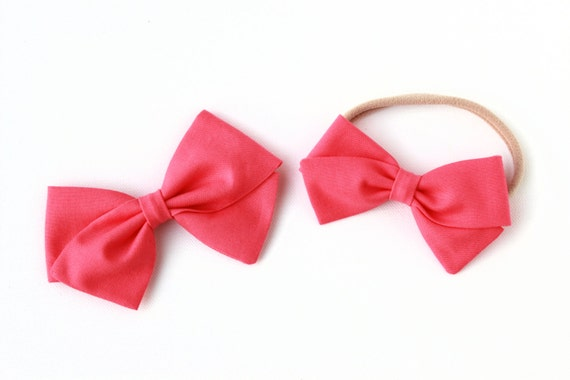 Baby Girl, Toddler, Fabric Bows, Newborn, Hand tied bow- Strawberry Pink