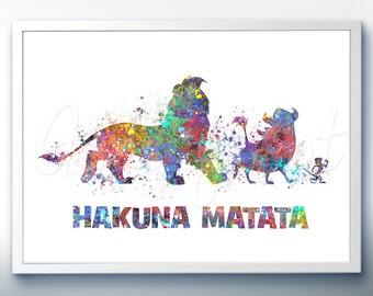 Disney Lion King Hakuna Matata Watercolor Art Print - Wall Decor - Watercolor Painting - Home Decor - Kids Decor - Nursery Decor [2]