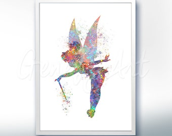 Disney Tinkerbell Fairy Pixie Dust Watercolor Art Poster Print - Wall Decor - Artwork - Home Decor - Kids Decor - Nursery Decor [3]