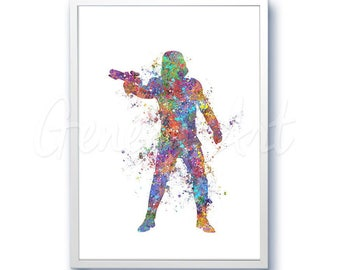 Star Wars Stormtrooper Watercolor Art Silhouette Poster Print - Wall Decor - Watercolor Painting - Home Decor - Kids Decor