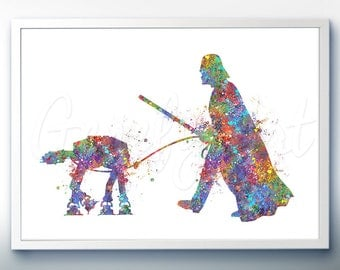 Star Wars Darth Vader and AT-AT Walker Watercolor Art Silhouette Poster Print - Wall Decor - Watercolor Painting - Home Decor - Kids Decor