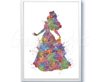 Disney Princess Aurora Sleeping Beauty Watercolor Poster Print - Watercolor Painting - Watercolor Art - Kids Decor- Nursery Decor