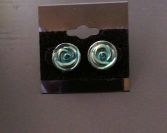 Blue rosette stud earrings