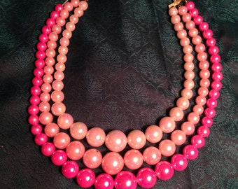 Vintage Triple Strand Pink Beaded Necklace 1950s