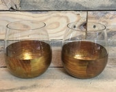 Verigated Bronze and Blackened Bronze Stemless Wine glasses