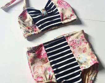 Vintage floral with black and white stripes two piece swimsuit, todder, girl, swimwear, bathing suit