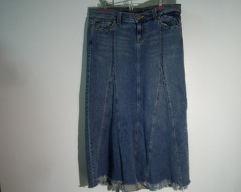 """Old Navy, Special Edition, Long Denim Skirt, Marked Size 8, Waist 36"""", Length 37"""", Gored Panels, Frayed Hem, Five Pockets, Pre Owned, Used"""