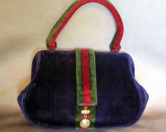 Royal Purple Velvet Roberta di Camarino purse