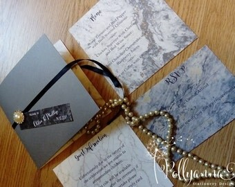 10 Bespoke Marble Pocketfold Wedding Invitations