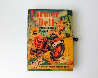Vintage 1951 Farmer in the Dell A Mattel Music Marker Book/Vintage Farmer in the Dell/Vintage Mattel/50s Mattel/Music Box Book