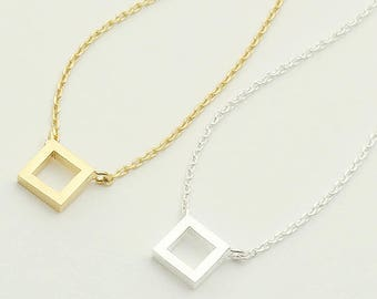 Open Square necklace/ line square necklace, hollow square necklace, square charm, geometric jewelry, dainty square / N0-78