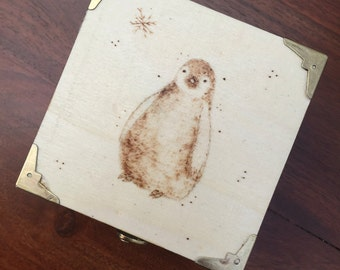 Penguin Woodburned Box