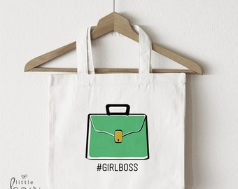 Girl Boss Tote, Boss Lady Tote, Feminist Tote, Gift for Her, Gift for Boss, Office Travel Bag, Like a Boss, Coworker Gift, Best Friend Gift