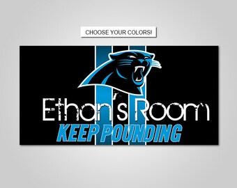 DOOR SIGN   Carolina Panthers Football Team Kids Bedroom Nursery Name Print  Door Sign