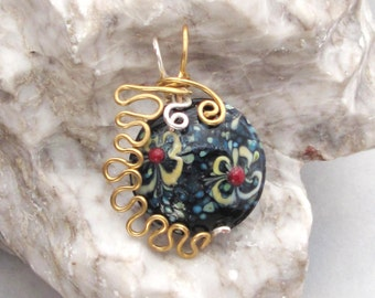 Wire Wrapped Glass Flower Bead
