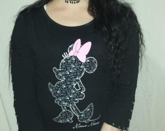Upcycled Minnie Mouse Safety Pin Shirt - Medium