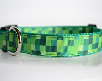 Green Dog Collar, Adjustable Collar, Webbed Dog Collar, Fun Collar, Decorative Collar, Boy Dog Collar, Buckle Collar, Collar For Boy Dogs