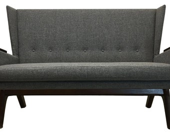 New Mid Century Modern Loveseat Love Seat Sofa Couch Custom Handcrafted MCM FREE SHIPPING