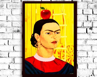 Frida Kahlo Painting portrait poster drawing, Frida Print, Frida Poster, Frida art, Frida Kahlo, Frida Kahlo image, Frida popart portrait