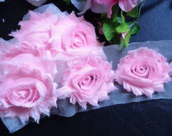 "2.5"" shabby chiffon pink rose trim price per yard"