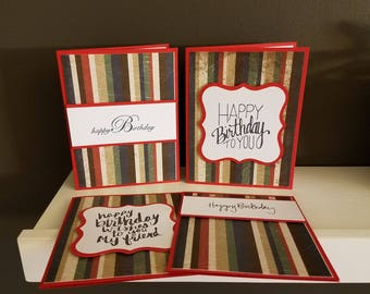 Striped Happy Birthday Cards