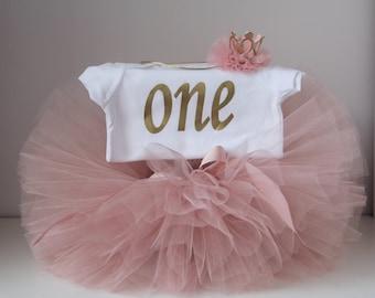 Blush and Gold First Birthday Tutu Set, Blush flower headband, One Bodysuit ,Cake Smash Outfit, Cake Smash Set,