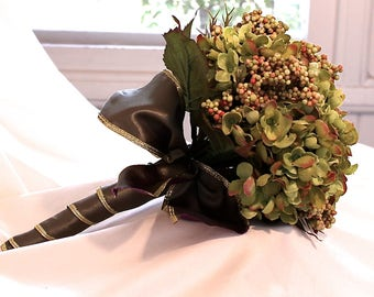 Olive Bridal Bouquet, Hydrangea Wedding Bouquet, Green Hydrangea Bridal Flowers, Lime Hydrangea Bridesmaid Floral, Green Wedding Bouquet