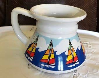 Vintage* Ocean Waves* No Spill* Ceramic/Porcelain Large Wide Mouth Coffee Mug* SMOOTH SAILING*