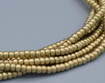 "300 Smooth Brass Heishi Spacer Beads 3x2mm 24"" Strand"