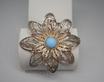 Antique Victorian Sterling Silver Floral Pin Brooch with Turquoise Cab