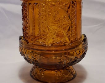 Amber Glass Tea Light/Candle Holder Farie Light Vintage