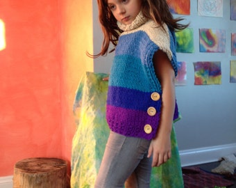 fashionable wool kids sweater handknit blue ocean chunky pullover