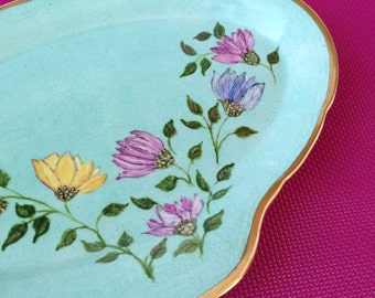Alfred Meakin ceramic vintage serving green/blue Handpainted flowers, Serving Plate, Sandwich Plate