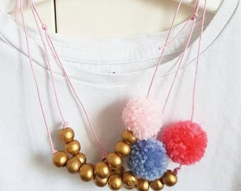 Girl's Necklace with wooden beads and PomPoms