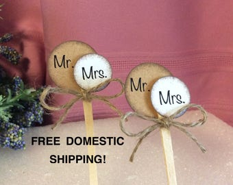 Rustic Circle Wedding Cupcake Toppers (6 pieces)