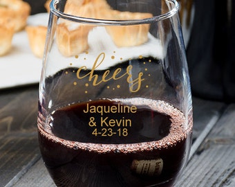 24 pcs Cheers Personalized 9 oz. Stemless Wine Glassware - Party Favors - Wedding Favors - Personalized Favors -MIC2312-12