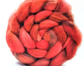 Superwash BFL, BFL,  Blue Faced Leicester, Hand Dyed Combed Top, Spinning Fiber, Wool Roving, Wool Top, Fall