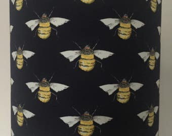 Dark Blue Lampshade with Bee Print