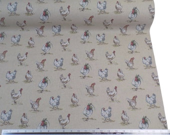 Hens Chickens Beige Linen Look High Quality Fabric Material *2 Sizes*