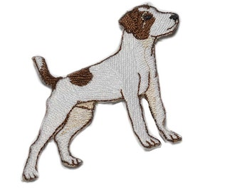 Iron on Jack Russell Terrier: chocolate with white 2.25 (L) x 2.25 (H)