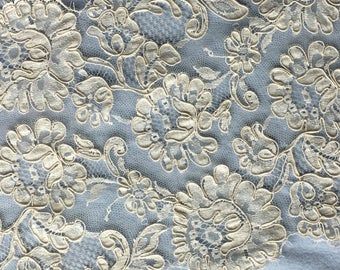 "Ivory French Galloon Lace 9"" wide-Sold/priced by the yard"